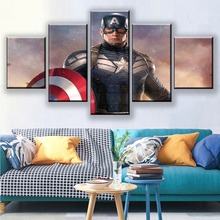 5 Panel Canvas Printed Movie The Avengers Poster Home Decor Bedroom Wall Art Painting Captain America Pictures Artwork