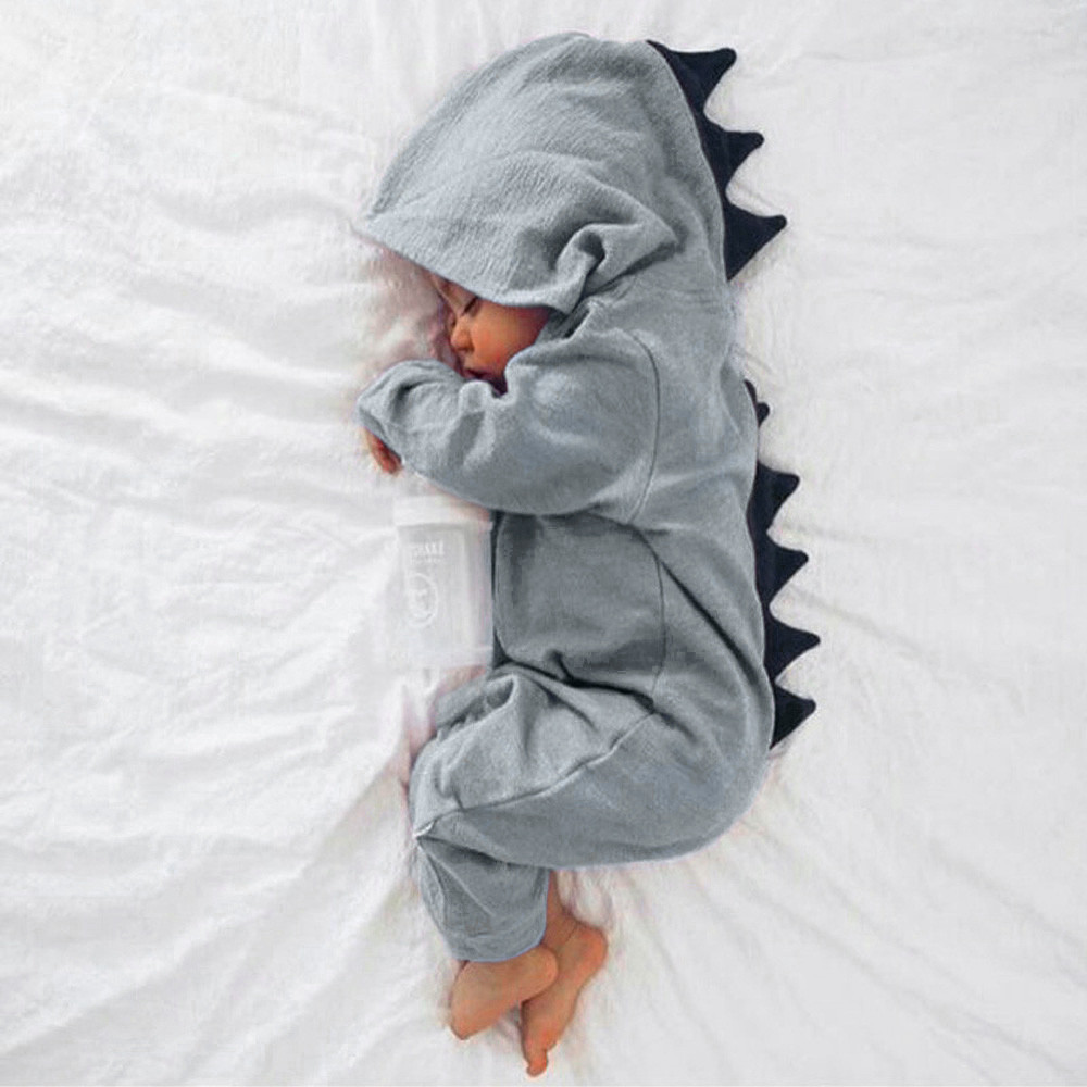 Newborn baby   Romper   jumpsuit Infant Baby Boy Girl Dinosaur Hooded   Romper   Jumpsuit Outfits Clothes