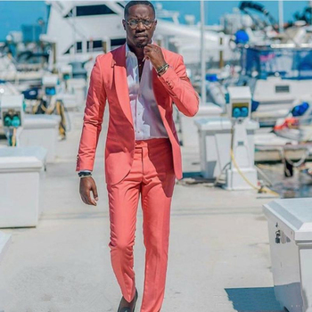 Coral Casual Men Suits 2019 Slim Fit Wedding Tuxedos Shawl Lapel Groom Wear 2PCS Bridegroom Suits Groomsman Prom Blazer