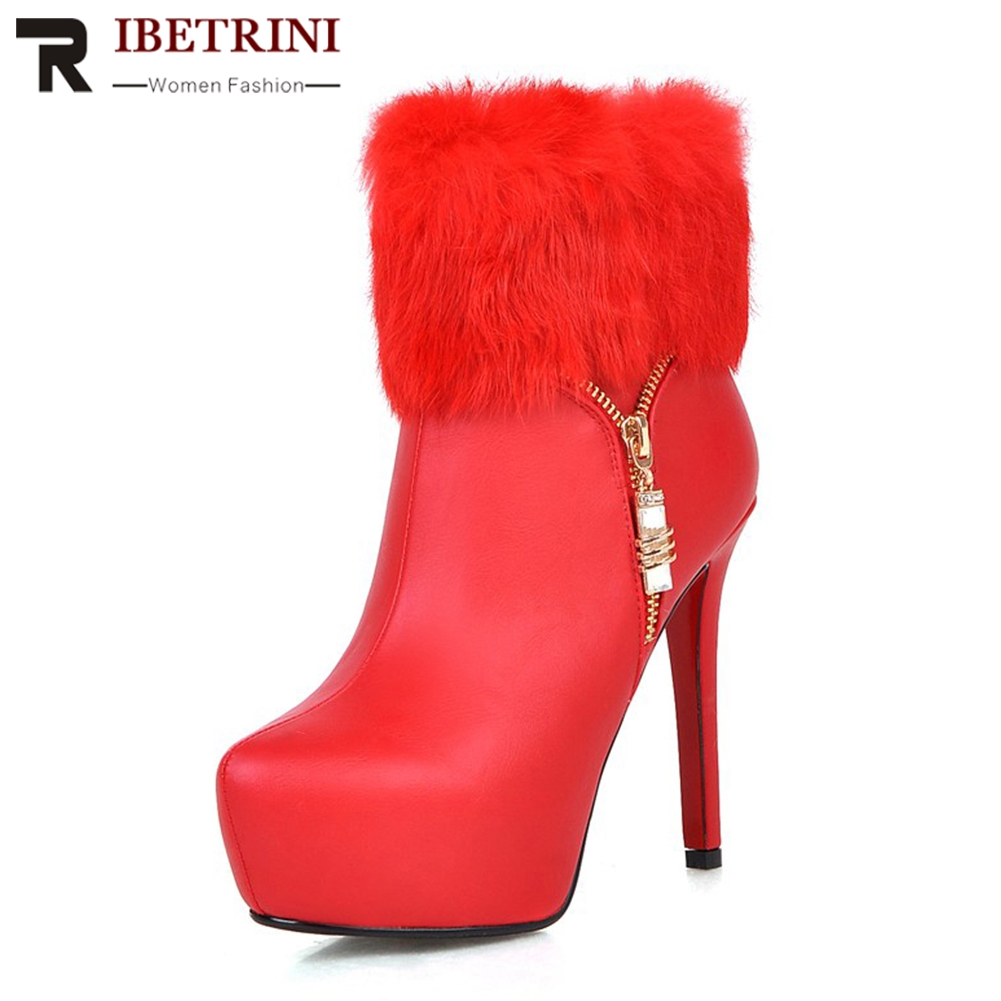 RIBETRINI New Plus Size 32-43 Faux Fur Edge 12.5cm Super Thin High Heels Patent Leather Zip Ankle Boots Women Thick Fur AddableRIBETRINI New Plus Size 32-43 Faux Fur Edge 12.5cm Super Thin High Heels Patent Leather Zip Ankle Boots Women Thick Fur Addable