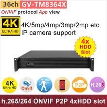 ONVIF 36 channel NVR Support 36ch 4K 5mp 4mp 1080P full HD IP camera h.265 P2P 4x HDD slot UHD DVR cctv system GANVIS GV-TM8364X