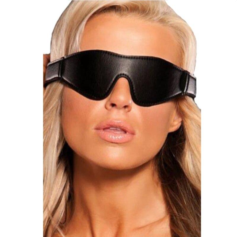 Schlaf Schwarz-out Fesseln Maske Verschluss Schwarz Echtes Leder Gepolsterte Augenbinde Patch Auge Abdeckung Erwachsene Sex Spielzeug Für Paar Frau Gesundheit FöRdern Und Krankheiten Heilen