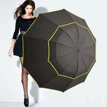 Высокое качество двойной гольф зонтик дождь Женщины ветрозащитный Paraguas сплава скелет Модные Автоматическая бизнес-Большой Зонт мужской