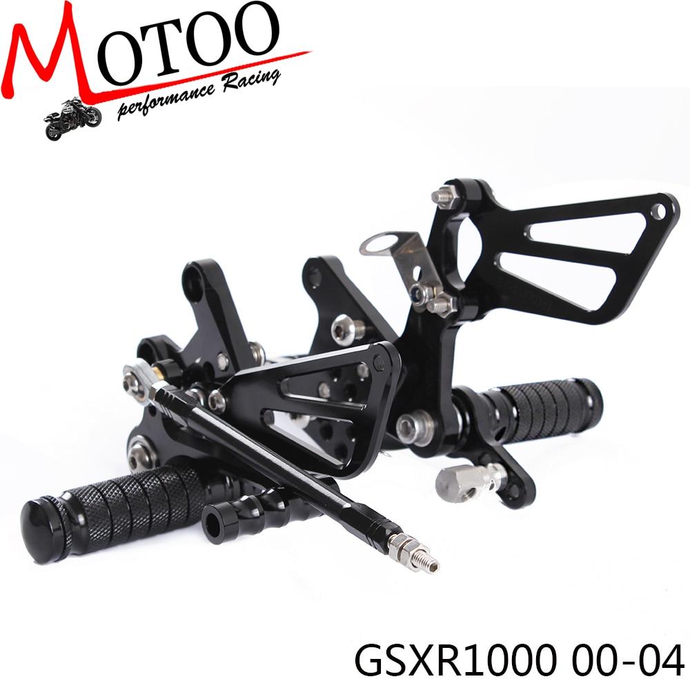 ФОТО Motoo - Full CNC aluminum Motorcycle Rearsets Rear Set For SUZUKI GSXR1000 2000-2004