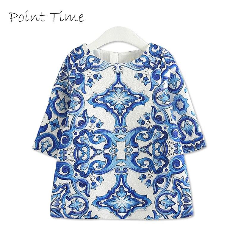 Girls Clothes Kids Dresses for Girls Vintage Floral Dress Autumn Winter Long Sleeve Blue White Porcelain Dress robe fille enfant