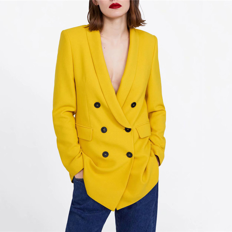 Women Style Yellow Blazers Double Breasted Long Sleeve Office Wear Coat Solid Female Casual Outerwear Tops