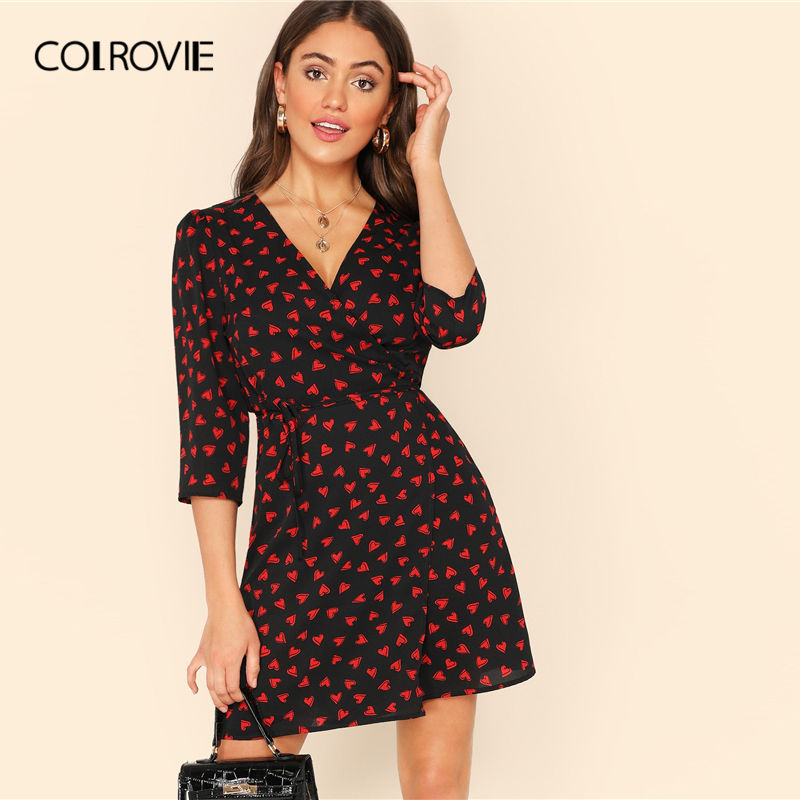 60d0101eae Detail Feedback Questions about COLROVIE V Neck Wrap Allover Heart Print  Elegant Dress With Belt Women 2019 Spring Korean Casual Office Ladies Mini  Dresses ...
