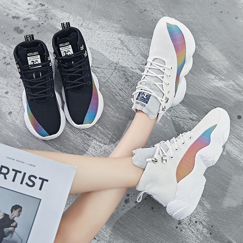 Women Sneakers Female Korean Version Color Thick Bottom White Black Ladies Casuals Footwear Women Run Shoes 17