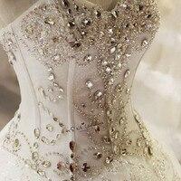 Cristaux Robes De Mariée Plus Taille Robe De Mariée De Luxe Princesse Dentelle Vintage Robes De Mariée Corset Retour Gelinlik Matrimonio Boda