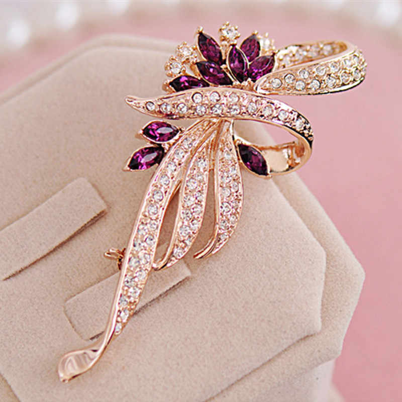 2019 Hot Sale Crystal Brooches For Women New Retro Fashion Crystal Brooches clothes pins Fashion Jewelry For Women Wholesale