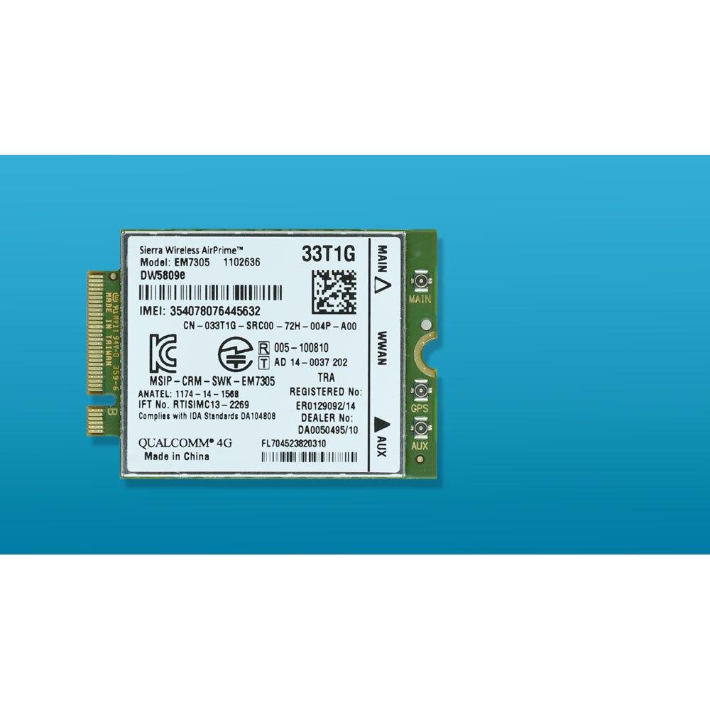 Placa de Rede para Dell Desbloqueado M.2 4g 100 Mbps Wwan Lte E5450 5450 E7450 E7250 7250 E5550 5550 Em7305 Dw5809e 33t1g K2w44