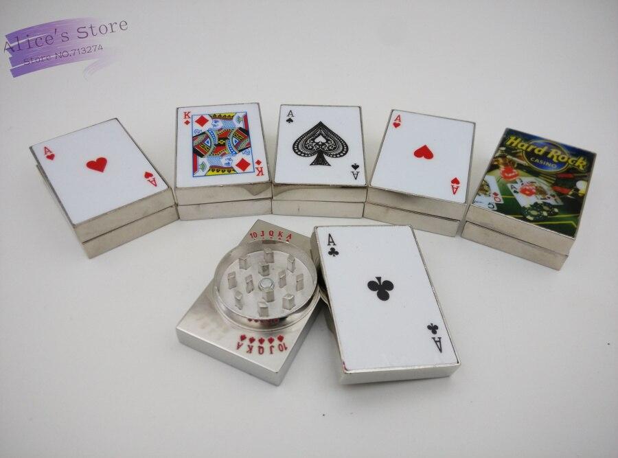 Livraison gratuite 3 pcs/lot Hotsale De Mode poker 2-couche grinder Métal Tabac Grinder main Grinder Fumée Pipe Accessoires GR019