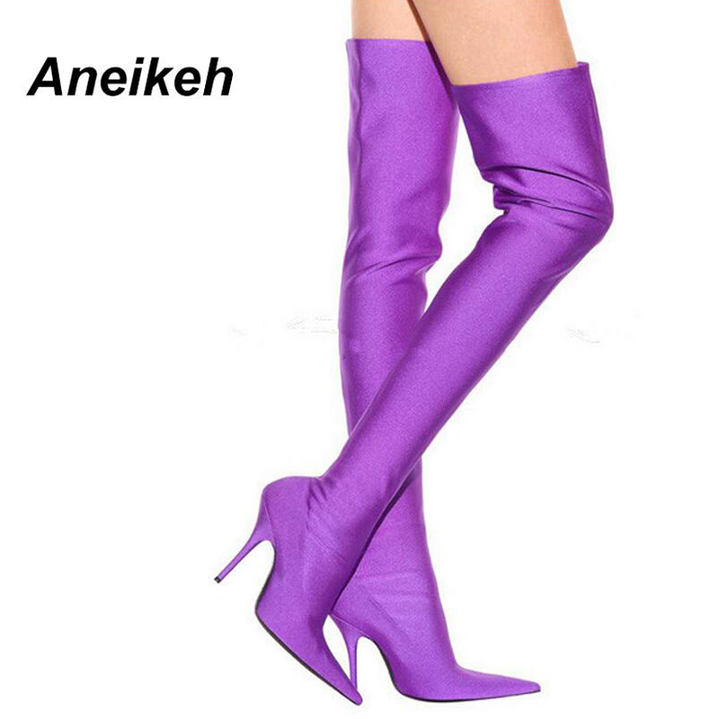 Aneikeh Over The Knee High Heels Long Booties Shoe