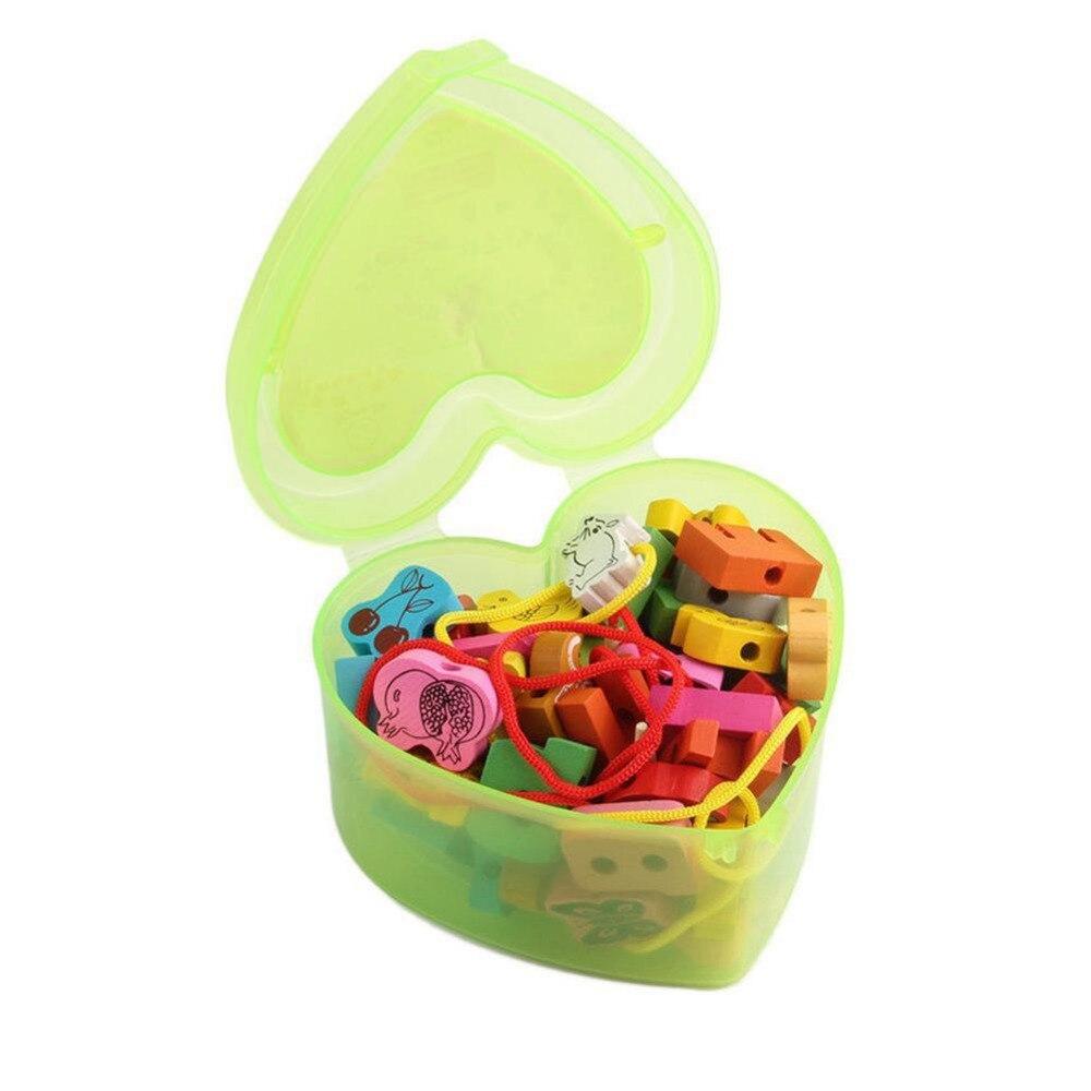 1 Set intéressant perles de laçage en bois animaux cordage blocs de jeu boîte en forme de coeur filetage éducatif mixte fruits jouet cadeaux - 5