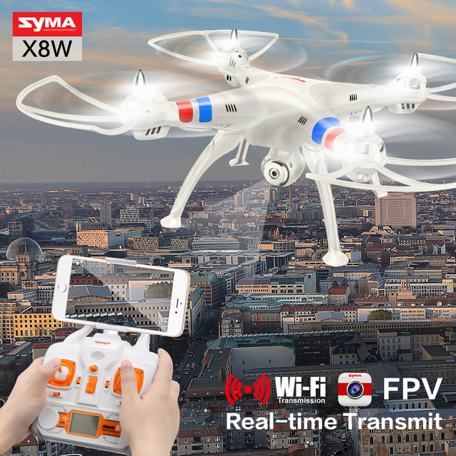Syma X8W 2.4G 4CH 6 Axis Gyro FPV  Real Time Tramisstion RC Helicopter With Camera Shatter Resistant Quadcopter Toys Gif