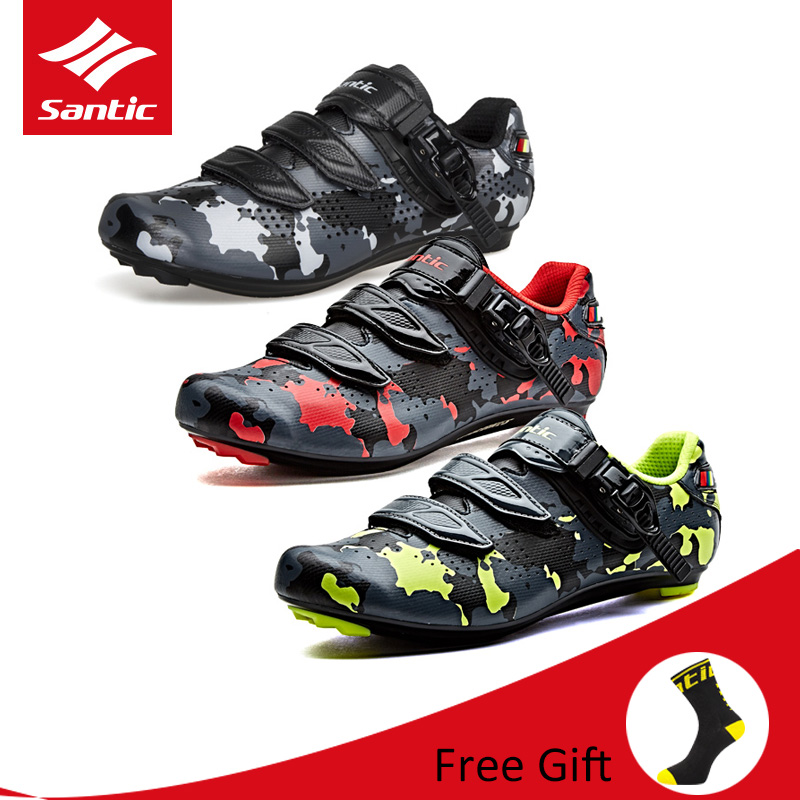 Santic Men Camouflage Bicycle Cycling Shoes PU Breathable Biking Shoes Auto-locking Bike Sneakers for Outdoor Road Bike Riding