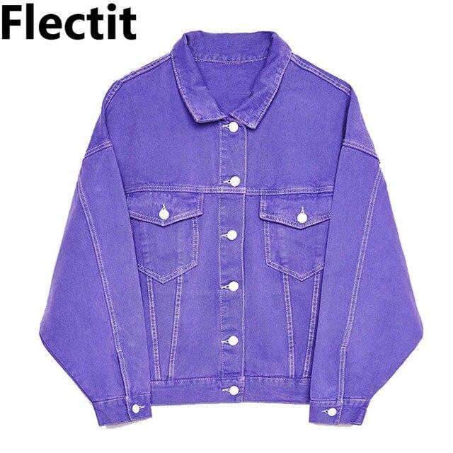 Flec Oversize Denim Jacket For Women Jeans Casual Candy Color Purple Er Jackets Coat Female Jaqueta Feminina
