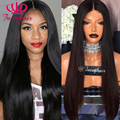 180 Density Silky Straight Hair Wigs Synthetic Lace Front Wig #1b Long Black Heat Resistant Glueless Wigs for Black Women