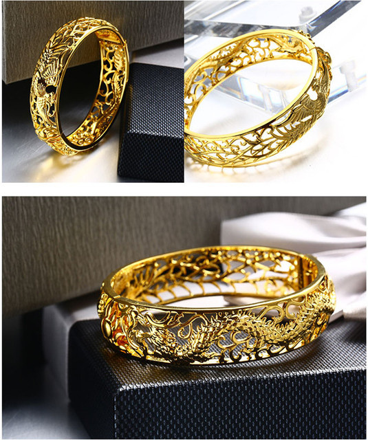 Chinese Style Dragon and Phoenix Design Bangle Wholesale Fashion Plating 22K Gold Bracelets Bangles Best Gifts For Women