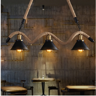 American Loft Creative Vintage Iron Rope Pendant Lights  Industrial Edison Bulb Light For Bar Living Room Decoration Lamp
