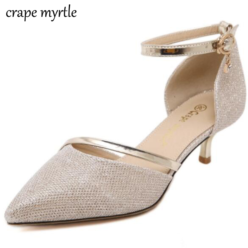 low heel woman High heels shoes Sexy heels Pointed Toe pumps Buckle gold silver pumps dress wedding shoes Women Stilettos YMA20 women classical design silver pointed toe transparent pumps ankle buckle design 12cm high heels formal dress shoes