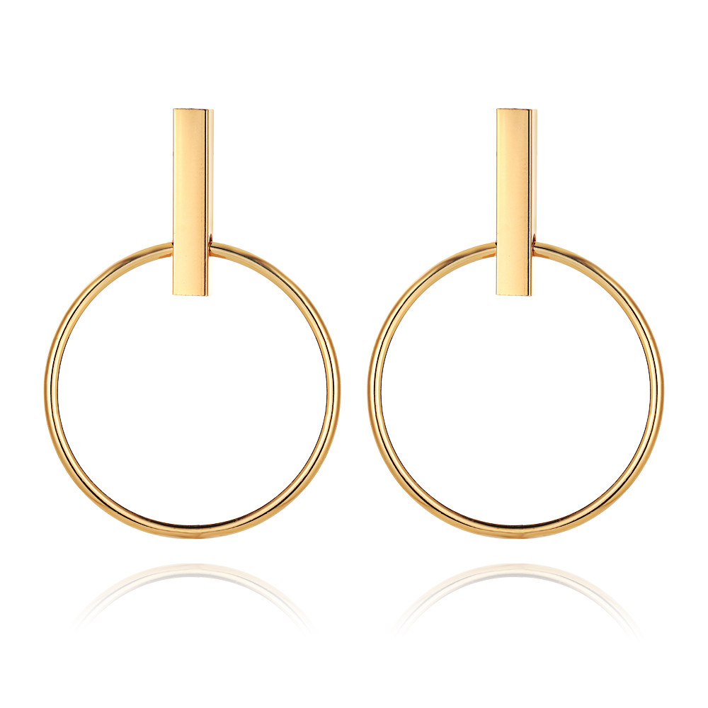 Gold Color Geometric Circle Round Earrings for Women Brincos Steampunk Hoop Earrings Style Women Party Jewelry Accessories 2018