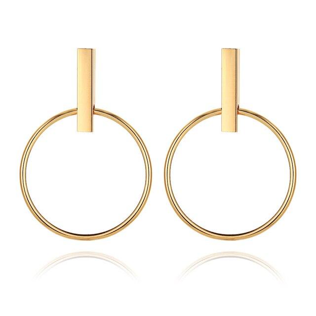 Pendientes redondos de círculo geométrico de Color dorado para mujeres Brincos pendientes de aro Steampunk estilo mujeres accesorios de joyería de fiesta 2018