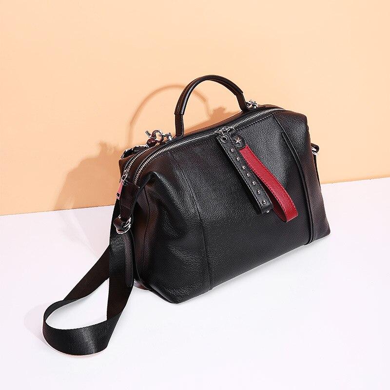 100% Genuine Leather Classic Black Women Handbag Fashion British Boston Bag Casual Tote Lady Shoulder Messenger Bag Rivets