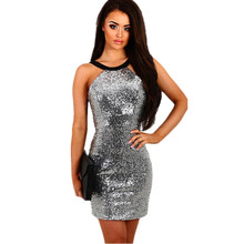 2019 summer golden silver mini pencil sequins dresses women sexy & club bandage bodycon hip backless halter party dress