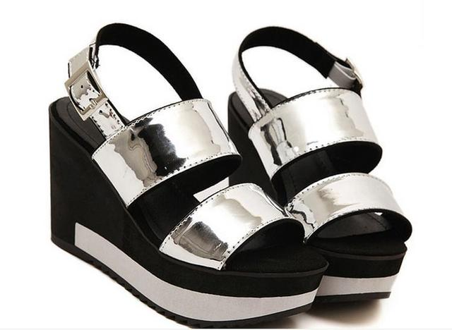 3bf1021d2c841 Sexy Silver Glitter Metallic Wedge Open Toe Sandals Trendy Silver Wedge  Platform Sandals Fashion Summer Style Silver Sandals