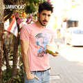 2016 New Arrival Simwood Brand Men T shirt  Short-sleeved O-neck Slim Fit Print Man Tee Plus Size Free Shipping TD1050