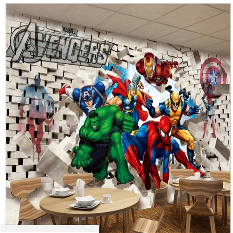 3d Stereoscopic Mural Wallpaper Custom Photo Wallpaper Avenger Union Hulk Spiderman 3d