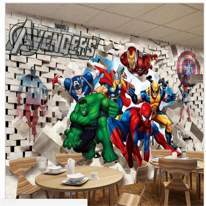 3d Stereoscopic Mural Wallpaper Custom Photo Wallpaper Avenger Union Hulk Spiderman 3d