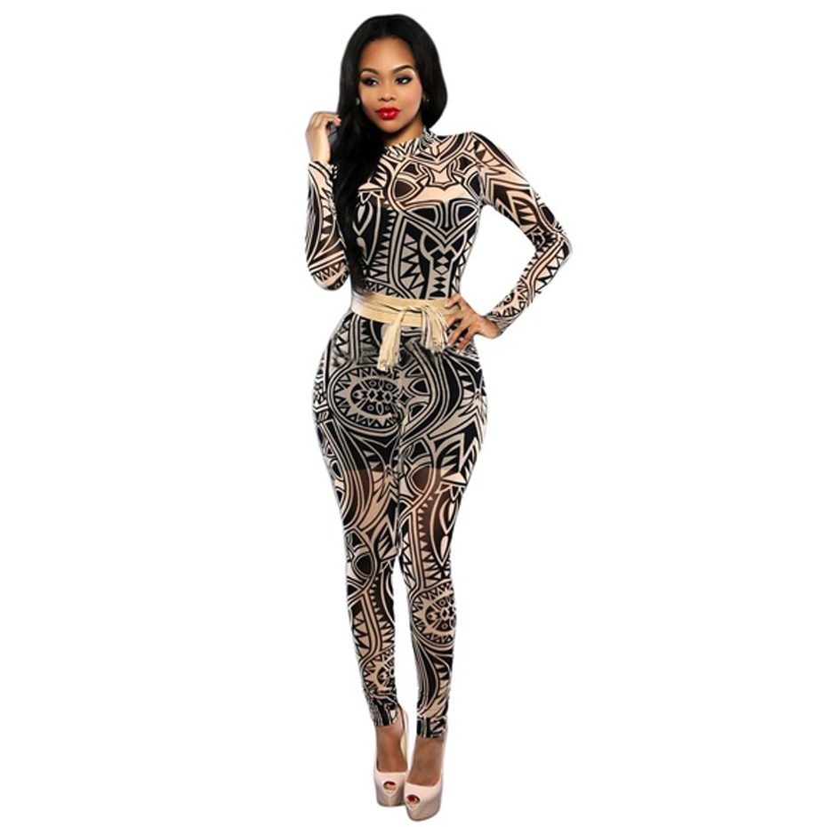 2018 Fashion Women   Jumpsuits   Tattoo Bandage Pattern Printed bodysuit full length sexy skinny   Jumpsuits   for women body