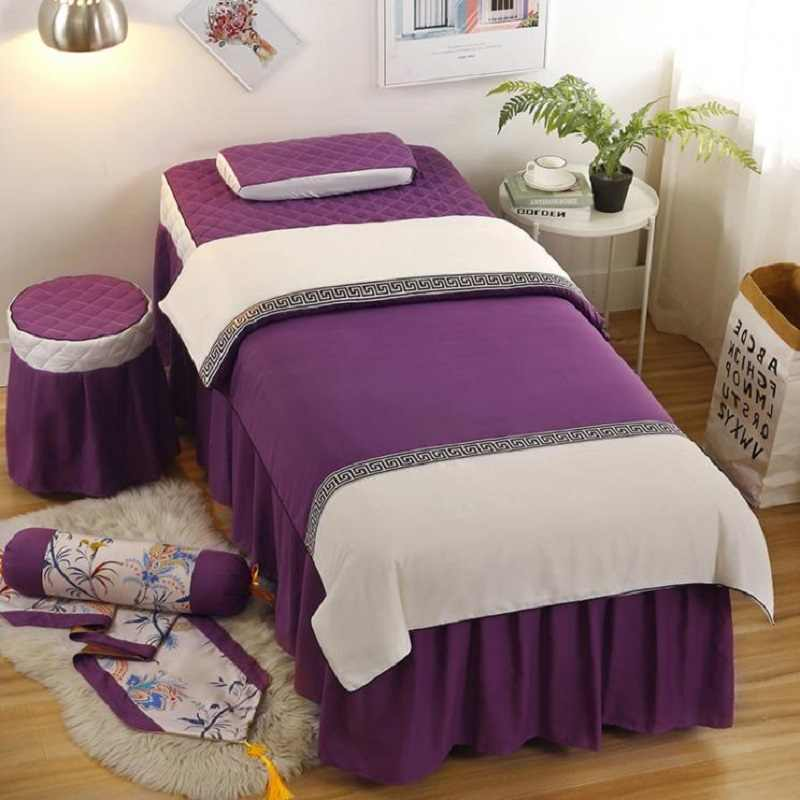 4pcs New Arrival Beauty Salon Duvet Cover Bed Skirt Bedding Set Hairdresser Spa Salon Customized  Purple Green Pink Color