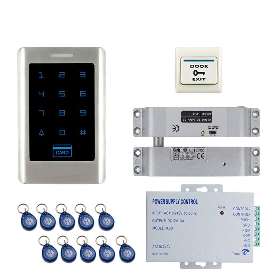 JERUAN FREE SHIPPING Office New Touch Keypad Metal RFID Door Entry Access Control Kit + ELectric Drop Bolt lock+ 10 ID cards raykube glass door access control kit electric bolt lock touch metal rfid reader access control keypad frameless glass door