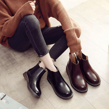 Chelsea womens boots in autumn 2018 Genuine Leather  winter women Slip-On shoes