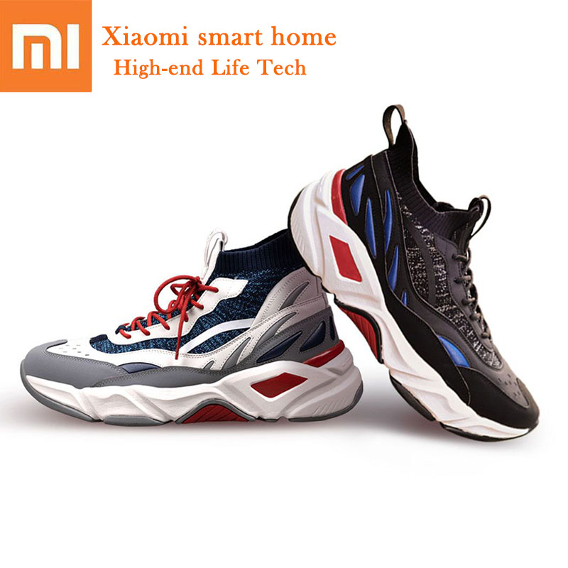 Original Xiaomi FREETIE Fashion Men Women shoes Flying Woven Leather Stitching Upper Breathable Socks Design EVA