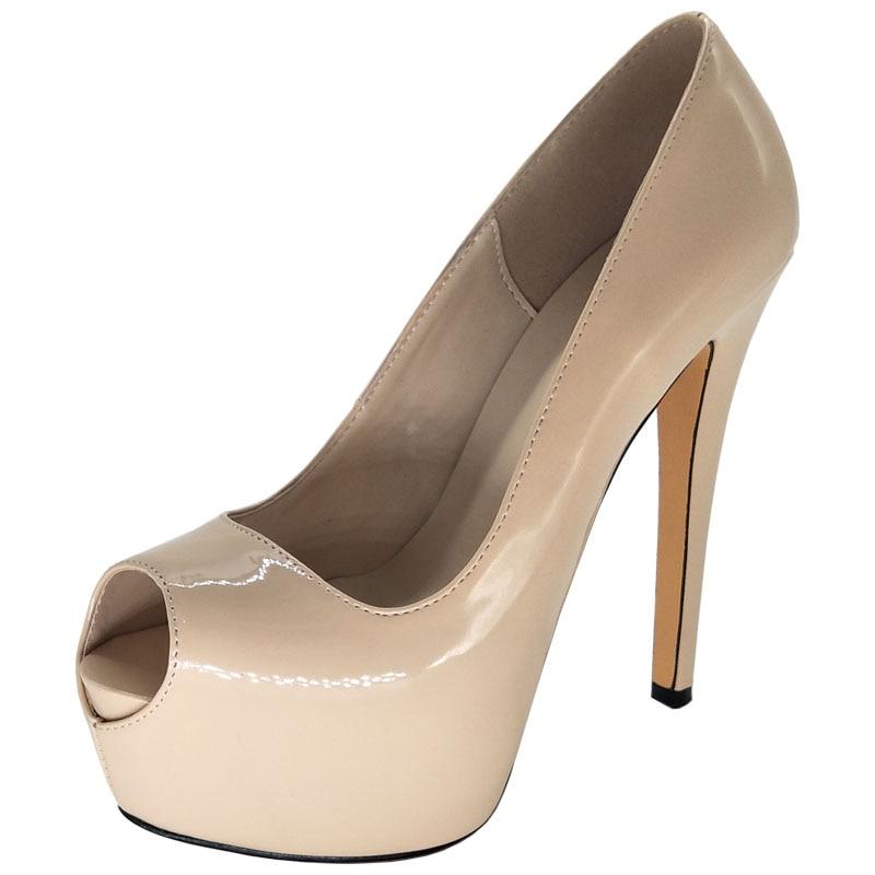 5 Frau Heels Absicht 4 Neue Ef0987 Peep High Größe Ursprüngliche Dünne Nude Schuhe Pumps Pumpt Plattform 10 Uns Toe Fashion Frauen Elegante Plus 14xndvwqZ