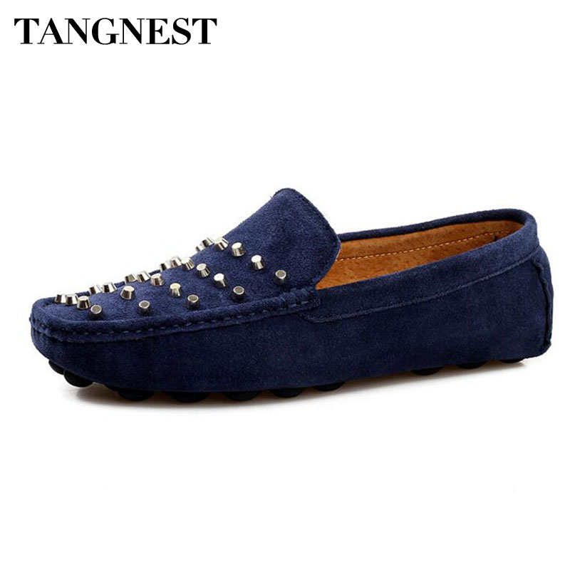 Tangnest Brand NEW Rivets Flats Men Fashion 2017 Split Leather Square Toe Loafers Man Soft Driving Shoes Moccasins XMR2606 split leather dot men casual shoes moccasins soft bottom brand designer footwear flats loafers comfortable driving shoes rmc 395