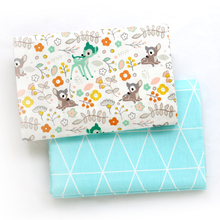 Printed Deer Kids Twill Cotton Fabric,Patchwork Cloth,DIY Sewing Quilting Fat Quarters Material For Baby&Child