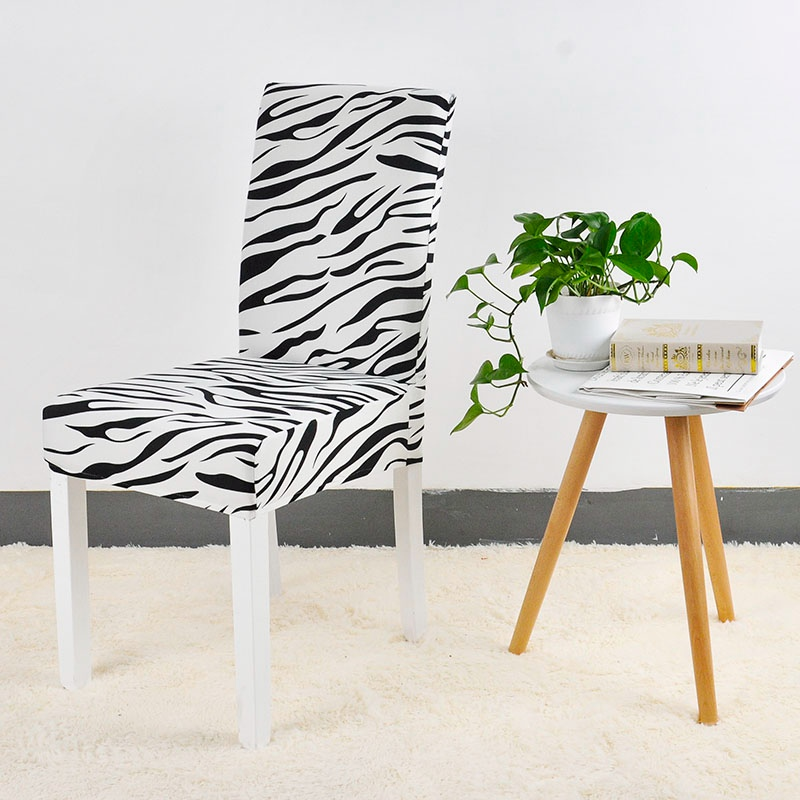 Zebra Pattern Printing Chair Cover Dining Room Seat Protector Slipcover Stretch Dining Chair Cover Home Decor 1 PC