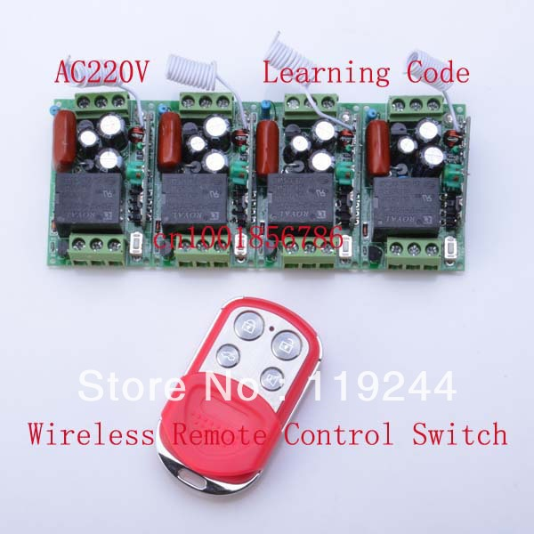 все цены на 4 Receivers+1 Transmitter Duplicating Copied Cloning Remote Control 220V 1CH 10A RF Wireless Remote Control Power Switch System онлайн