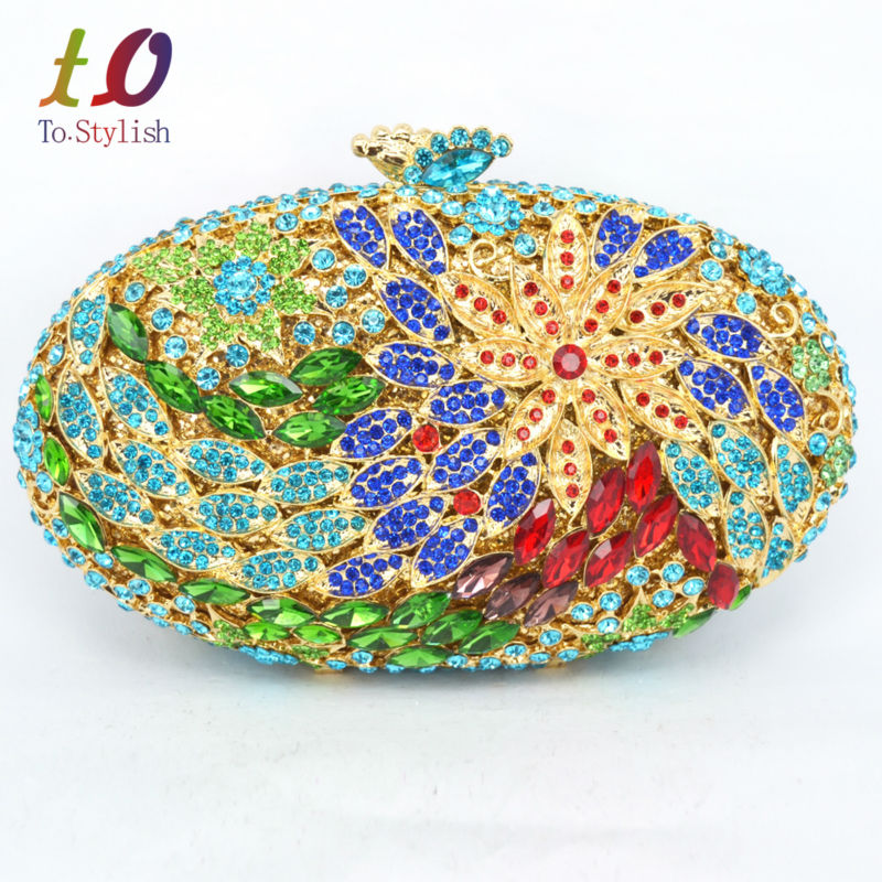 Stylish Oval Flower Evening Bag Luxury Rhinestone Banquet Bag for Party Purse Silver Women Wedding Bling Clutch Bag 88172 elegant rhinestone flower wedding party brooch for women