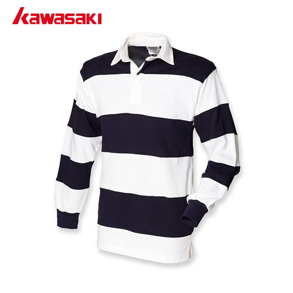 cbd76edf4 2018 Kawasaki Long Sleeves Interval Stripes Polo Rugby Top Jerseys Mens  Custom Practice Training Shirts For Rugby Match Games