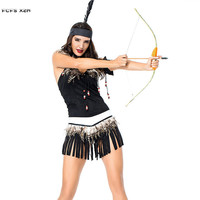 Female Warrior Cosplay Woman Halloween Primitive Native Indian Costume Carnival Purim Nightclub Masquerade Role play party dress