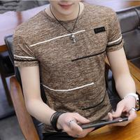 Summer men's short sleeved T shirt with round neck and half sleeve upper garment men's printed T shirt with bottom shirt t
