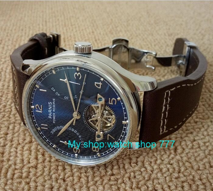 new blue dial 43mm PARNIS Butterfly buckle Automatic Self Wind mechanical watches power reserve men watches