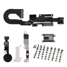 Peças lcd para iphone 7 7 plus, câmera frontal, alto falante com suporte de metal, chave do botão de início e cabo flexível e parafusos de conjunto completo