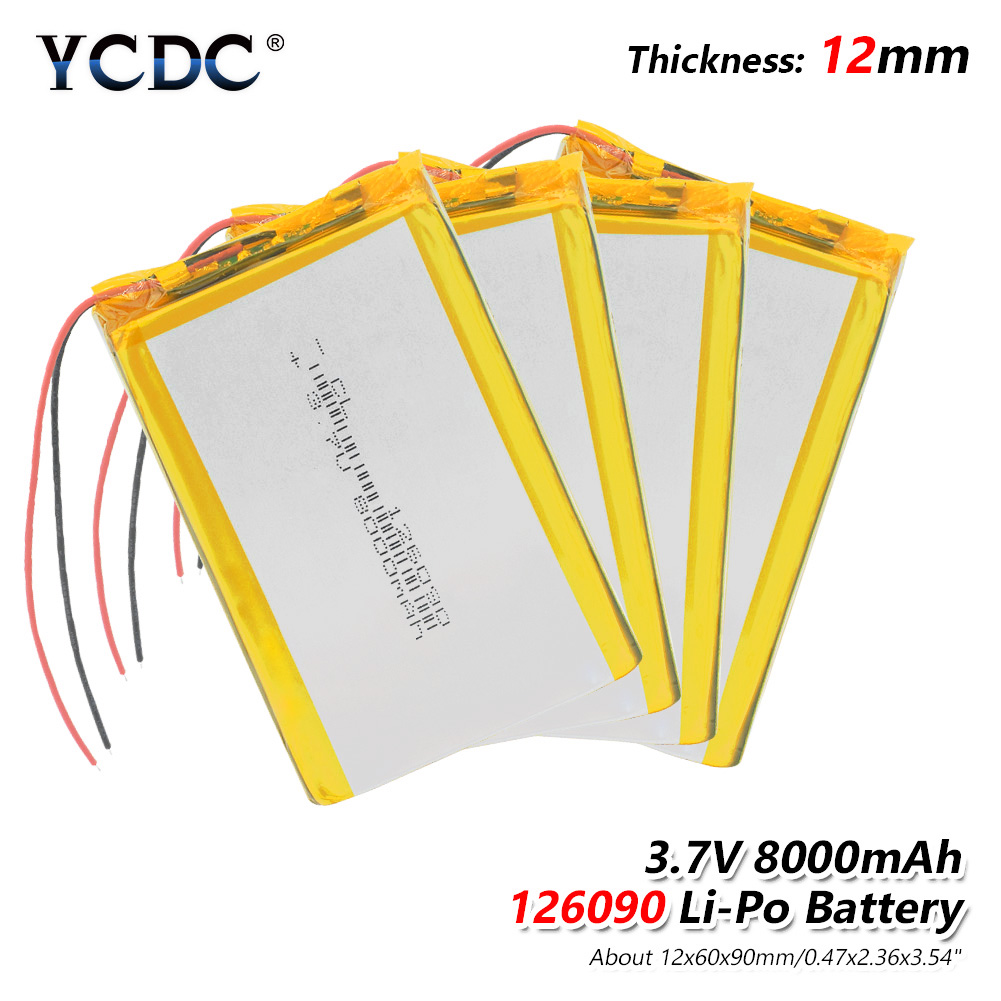 1/2/4 Pieces Polymer Lithium <font><b>Battery</b></font> 3.7 Voltage 126090 <font><b>8000mAh</b></font> Lithium-ion Polymer Backup Power <font><b>Tablet</b></font> E-book PAD Bateria image